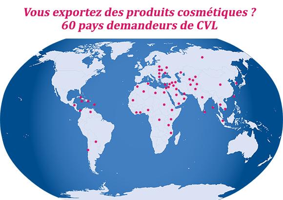 carte exportation produits cosmétiques